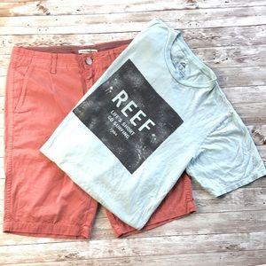 Calvin Klein Men's Red Brick Shorts & Tee. Sz. 32